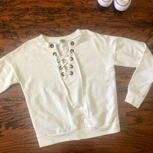 True Craft White Sweat with Grommets - XS